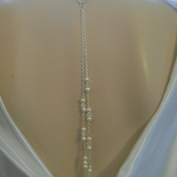 Pearl & Crystal Backdrop Bridal Necklace