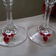 2 Red Crystal Hearts Wine Glass Decorations