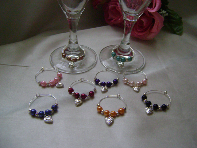 6 Silver Hearts Wine Glass Decorations