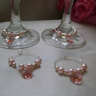 4 Pink Crystal Heart Wine Glass Decorations