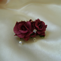 Mini Burgundy Wild Rose Comb