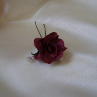 Burgundy Wild Rose Hairpin