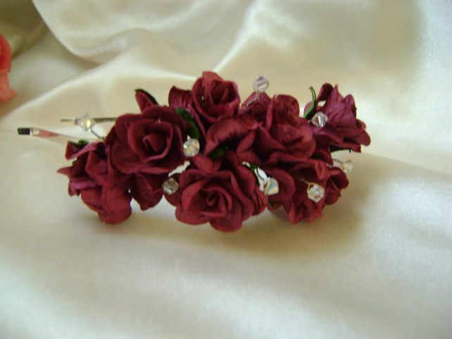 Burgundy Wild Rose Side Tiara