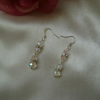Bride - Bridesmaid - Prom Long Crystal Earrings