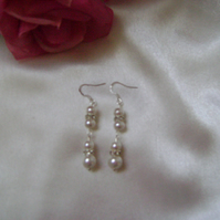 Bride - Bridesmaid - Prom Dangling Pearl Earrings
