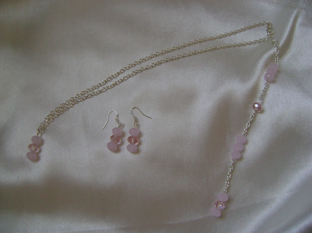 Pink Ice Necklace & Earring Set - Bridesmaid - Prom - Evening