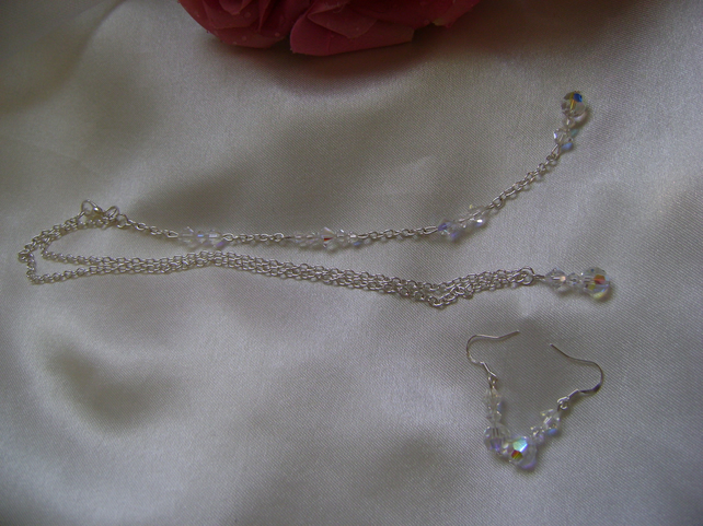 Crystal Backdrop Bridal Necklace & Earring Set