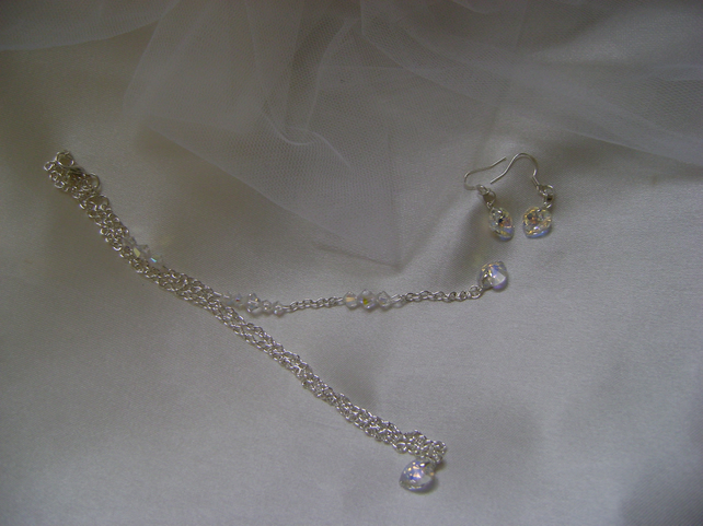Swarovski Heart Backdrop Necklace & Earring Set