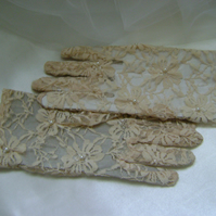 Rich Cream Lace & Pearl Gloves - Short Length