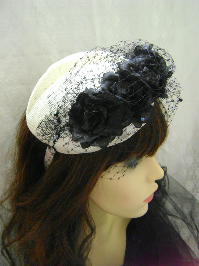 Black Net & Cream Sinamay Fascinator
