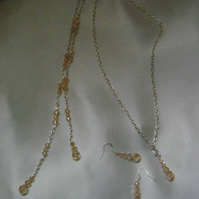 Long Champagne Crystal Backdrop Necklace & Earrings Set