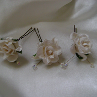 Ivory Wild Rose Crystal Hairpin