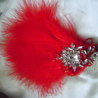 Lola - Vintage 20s Style Red Feather Comb