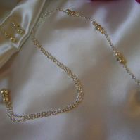 Backdrop Pearl & Rhinestone Bridal Necklace & Earring Set