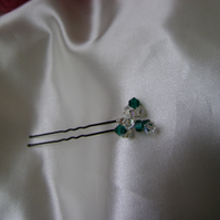 3 Emerald & Crystal Deluxe Hairpins
