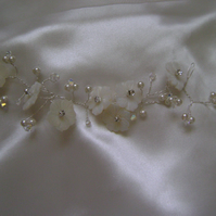 Cherie - Bridal Hair Vine - Carved Shell Flowers & Swarovski Crystals
