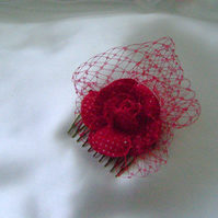Paula - Red Polka Dot Flower Comb