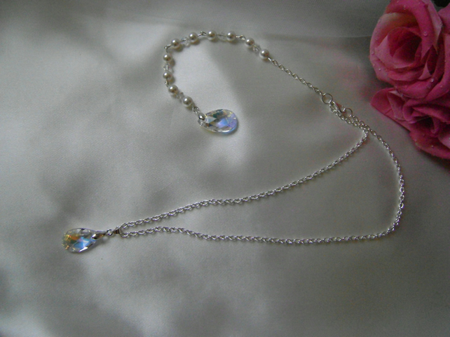 Ona - Swarovski Crystal & Pearl Bridal Backdrop Necklace