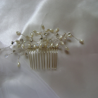 Starling - Crystal, Diamante & Ivory Pearl Bridal Comb
