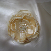Cream Silky Jewelled Bridal Hair Flower