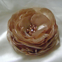 Cappuccino Silky Jewelled Hair Flower
