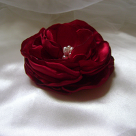 Crimson Red Silky Jewelled Hair Flower