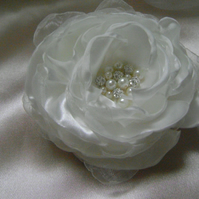 White Silky Jewelled Bridal Hair Flower