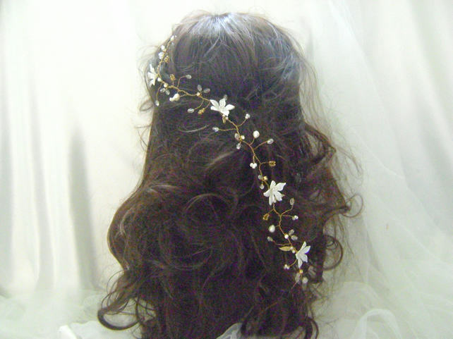 Evie - Boho Chic - Long Gold Tone Hairvine