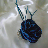 Lottie - Teal Silky Flower & Diamante Wrist Corsage
