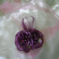 Belle - Lilac & Purple Beaded Flower Wrist Corsage