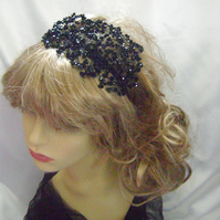 Noir- Black Beaded Fascinator Headress