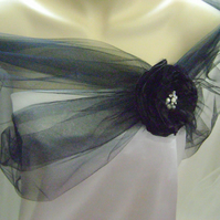 Black Sheer Tulle Wrap with Flower - Also Available in Red - Sizes 6 - 24