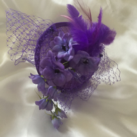 Gisselle - Lilac & Purple Flower Fascinator - FREE UK POSTAGE!