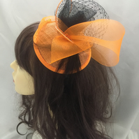 Tango - Orange & Black Fascinator - FREE UK POSTAGE!