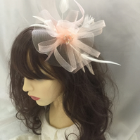 Maya Peach Feather Fascinator - FREE UK POSTAGE!