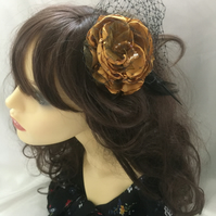Lavinia - Vintage Gold & Black Flower Fascinator - FREE UK POSTAGE!