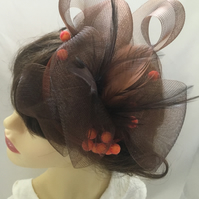 Coco - Rich Brown & Orange Berry Fascinator - FREE UK POSTAGE!