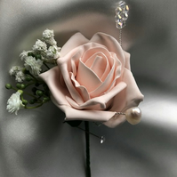Rose - Crystal & Freshwater Pearl Wedding Boutonniere Butttonhole