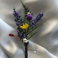 Scottish Highland Wedding Boutonniere Butttonhole - Choice of Family Tartan!