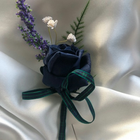 Scottish Highland Dark Blue Wedding Boutonniere Butttonhole - Choice of Tartan!!