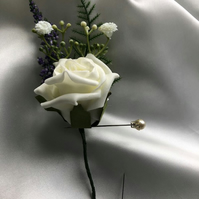 Ivory Rose & Lilac Spray Wedding Boutonniere Butttonhole - Pin Included!