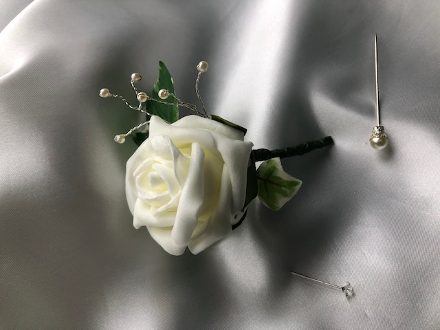Ivory Rose & Pearl Spray Wedding Boutonniere Butttonhole - Various Rose Colours