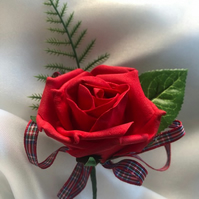 Scottish Highland Red Rose Wedding Boutonniere Butttonhole - Choice of Tartan!!