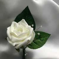Ivory Rose & Crystal Spray Wedding Boutonniere Butttonhole - Various Colours