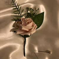Pale Pink Rose Spray Wedding Boutonniere Butttonhole - Various Colours!