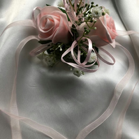 Bridesmaid Pastal Pink Wrist Corsage - Maid of Honour Corsage - Prom Corsage