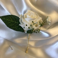Gold or Silver Stem - Ivory Rose Spray Boutonniere Butttonhole - Pin Included!