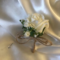 Rustic Twine Ivory Rose Spray Wedding Boutonniere Butttonhole - Pin Included!
