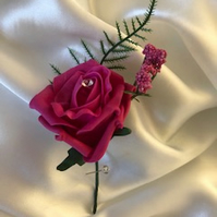 Pink Kiss Spray Boutonniere Butttonhole Optional Diamante Center - Pin Included!