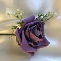 Dusky Lilac Rose Spray Boutonniere Butttonhole - Matching Diamante Pin Included!